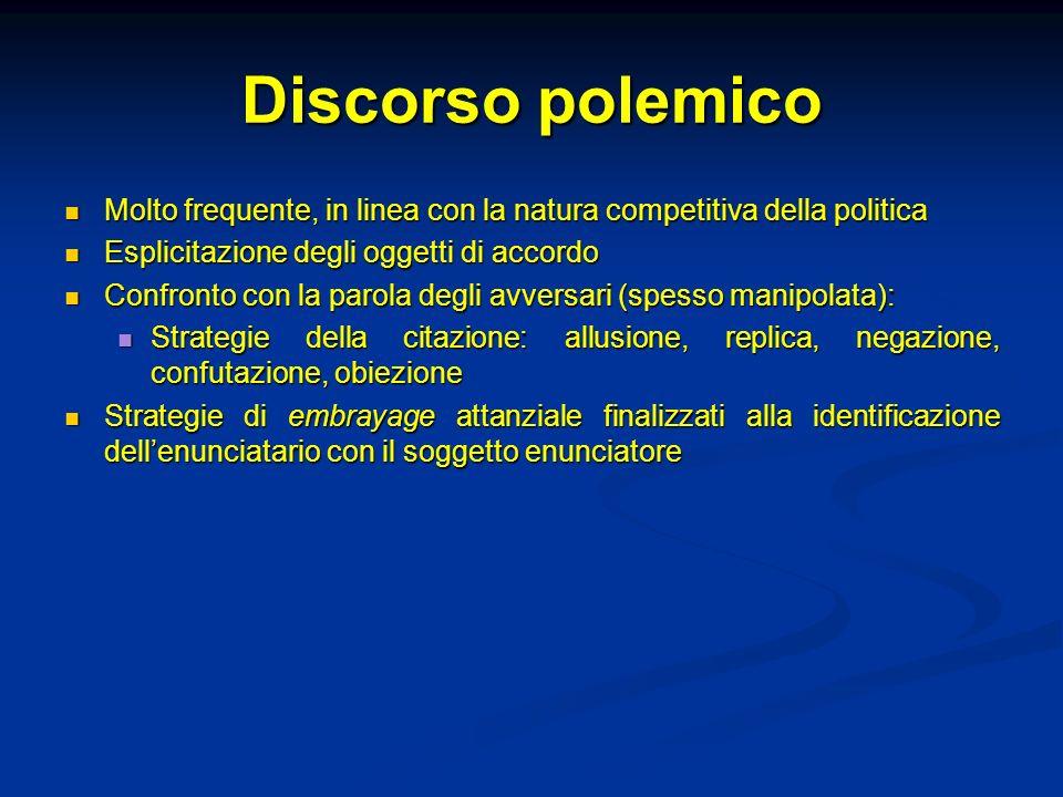 Discorso polemico Molto frequente, in linea con la natura competitiva della politica. Esplicitazione degli oggetti di accordo.