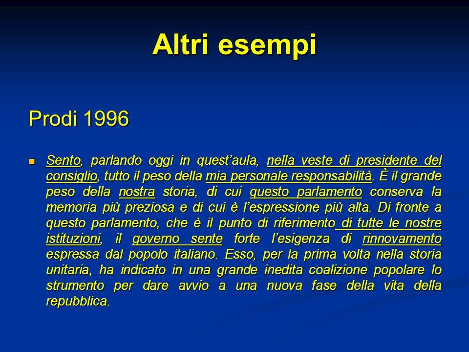 Altri esempi Prodi 1996.