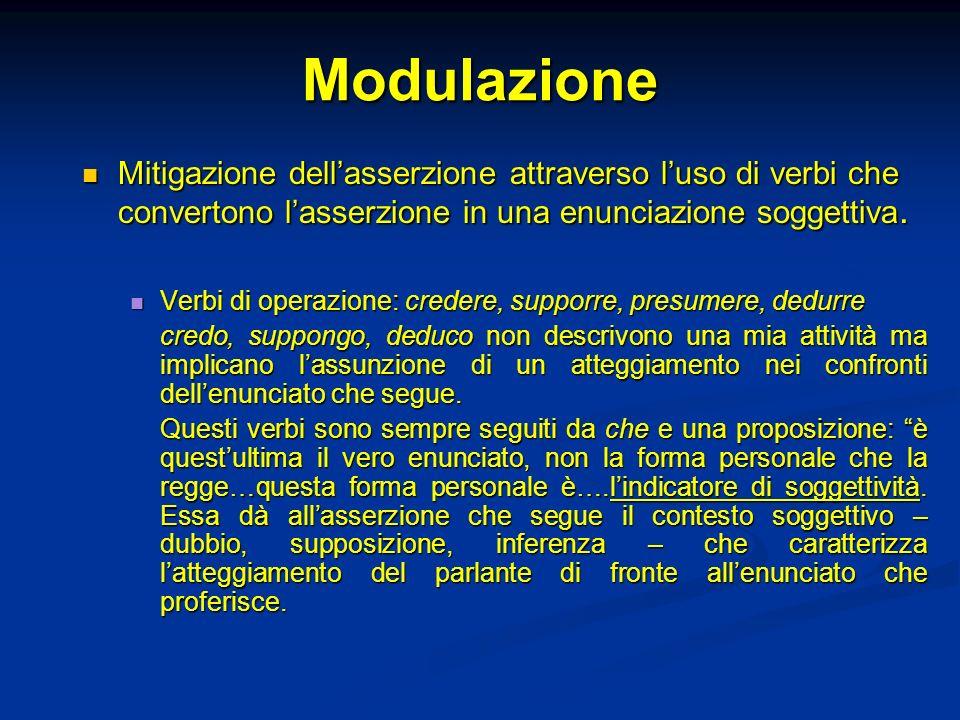 Modulazione Mitigazione dell'asserzione attraverso l'uso di verbi che convertono l'asserzione in una enunciazione soggettiva.