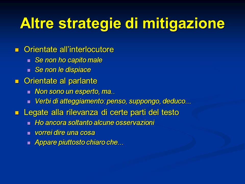Altre strategie di mitigazione