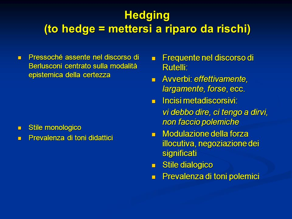 Hedging (to hedge = mettersi a riparo da rischi)