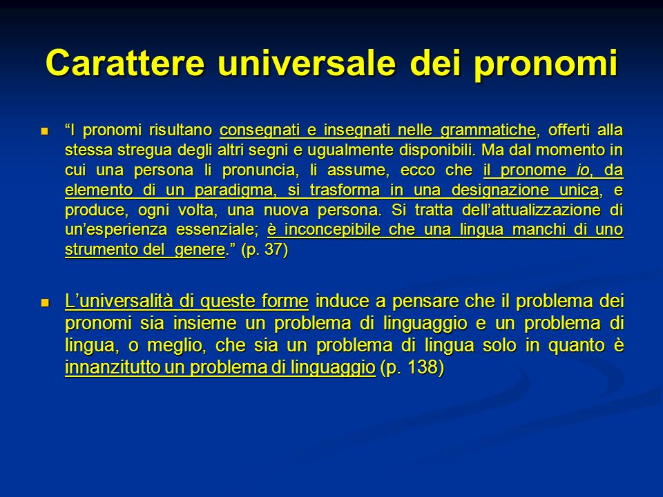 Carattere universale dei pronomi