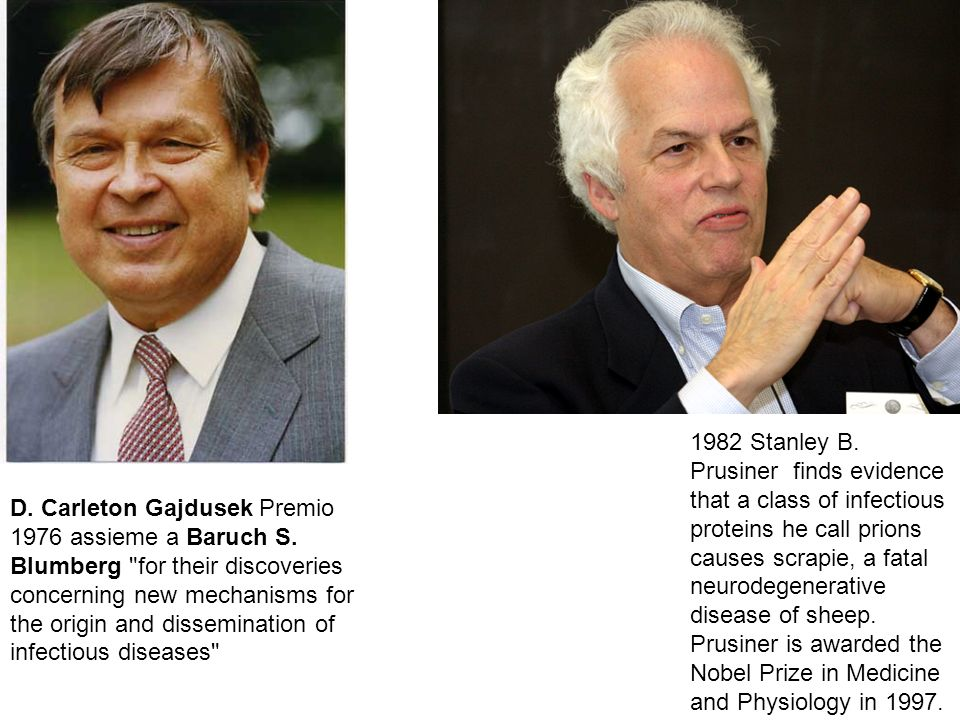 1982 Stanley B. Prusiner finds evidence that a class of infectious proteins he call prions causes scrapie, a fatal neurodegenerative disease of sheep. Prusiner is awarded the Nobel Prize in Medicine and Physiology in 1997.