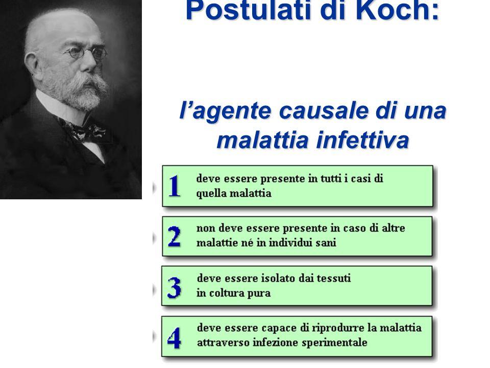 Postulati di Koch: l'agente causale di una malattia infettiva