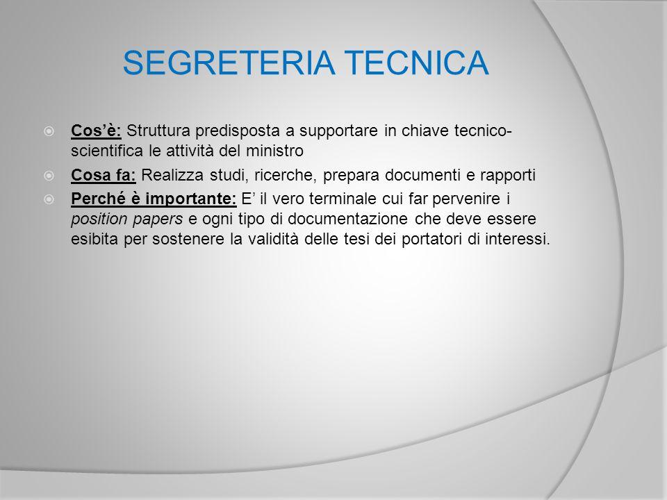 SEGRETERIA TECNICA Cos'è: Struttura predisposta a supportare in chiave tecnico-scientifica le attività del ministro.