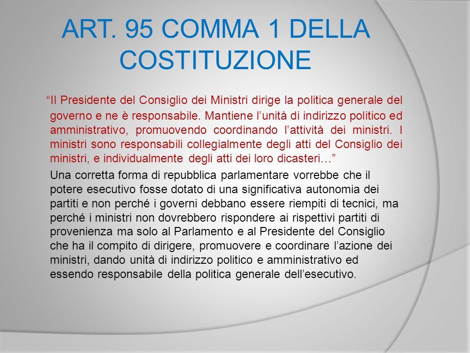 ART. 95 COMMA 1 DELLA COSTITUZIONE