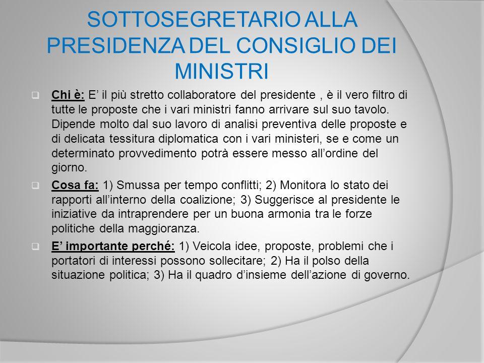 SOTTOSEGRETARIO ALLA PRESIDENZA DEL CONSIGLIO DEI MINISTRI