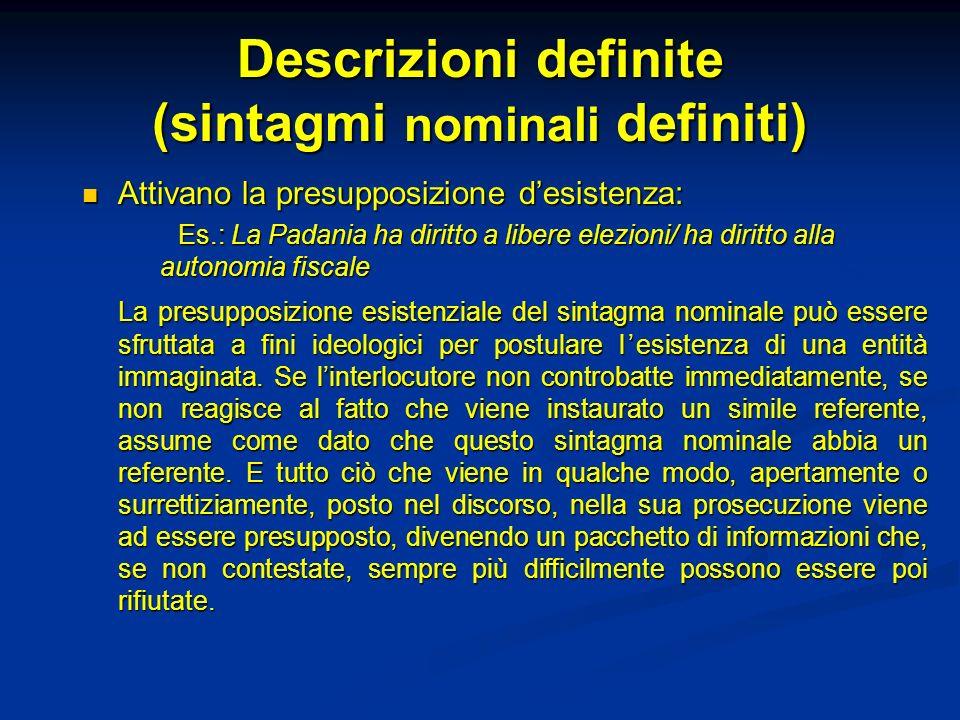 Descrizioni definite (sintagmi nominali definiti)