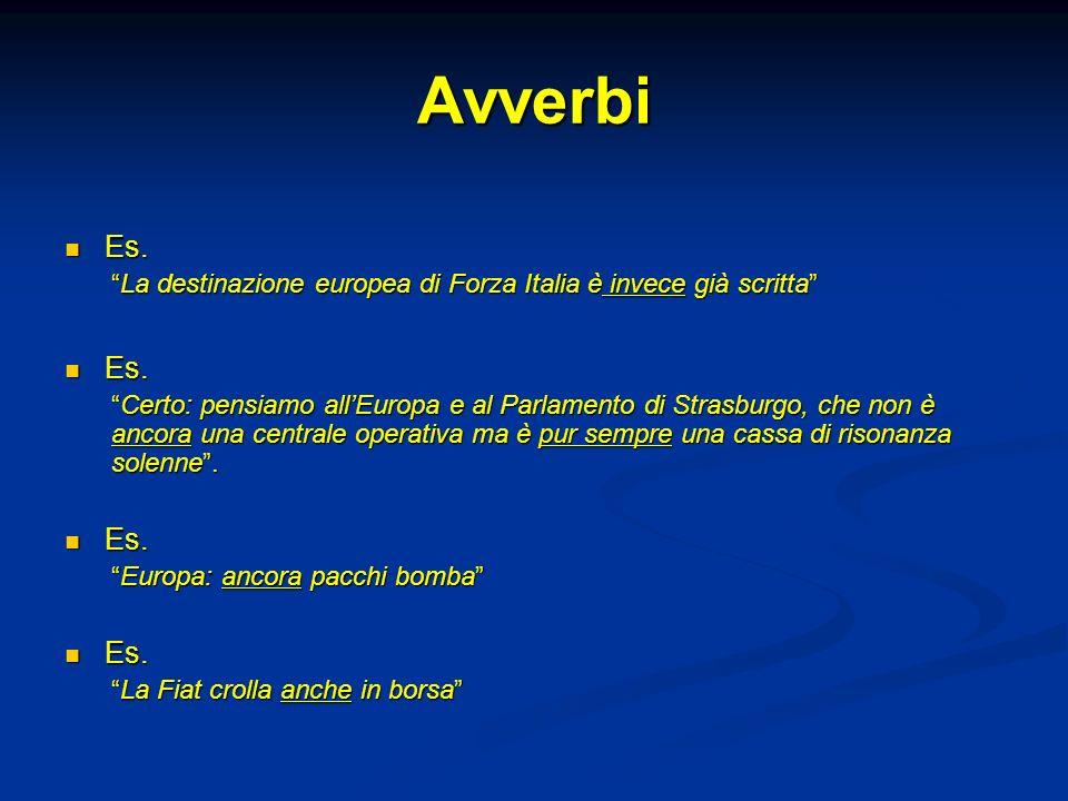 Avverbi Es. La destinazione europea di Forza Italia è invece già scritta