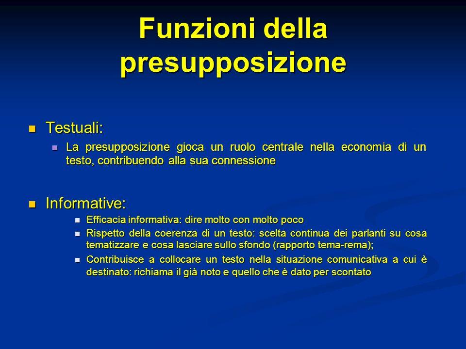 Funzioni della presupposizione