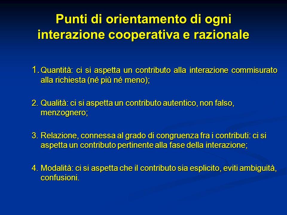 Punti di orientamento di ogni interazione cooperativa e razionale