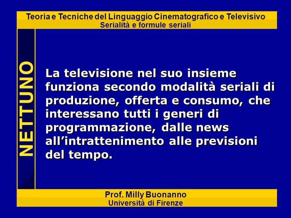 La televisione nel suo insieme funziona secondo modalità seriali di produzione, offerta e consumo, che interessano tutti i generi di programmazione, dalle news all'intrattenimento alle previsioni del tempo.