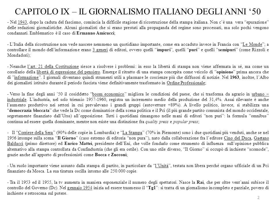 CAPITOLO IX – IL GIORNALISMO ITALIANO DEGLI ANNI '50