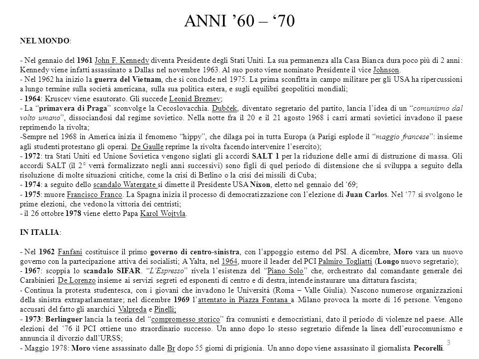 ANNI '60 – '70 NEL MONDO: