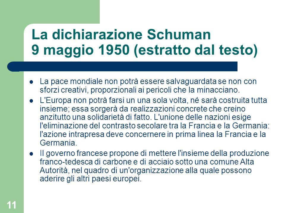 La dichiarazione Schuman 9 maggio 1950 (estratto dal testo)