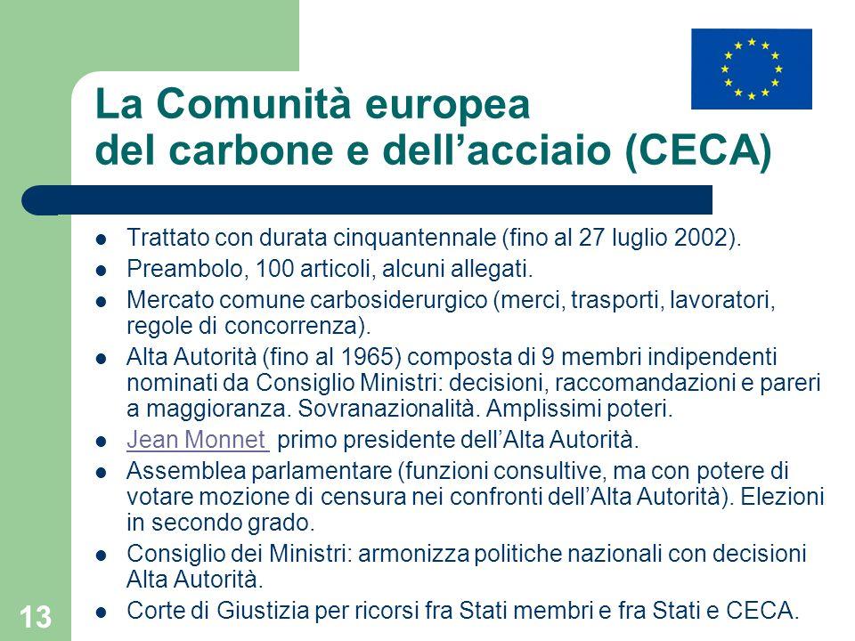 La Comunità europea del carbone e dell'acciaio (CECA)