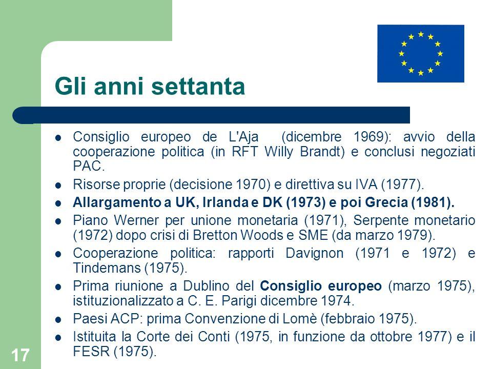 Gli anni settanta Consiglio europeo de L Aja (dicembre 1969): avvio della cooperazione politica (in RFT Willy Brandt) e conclusi negoziati PAC.