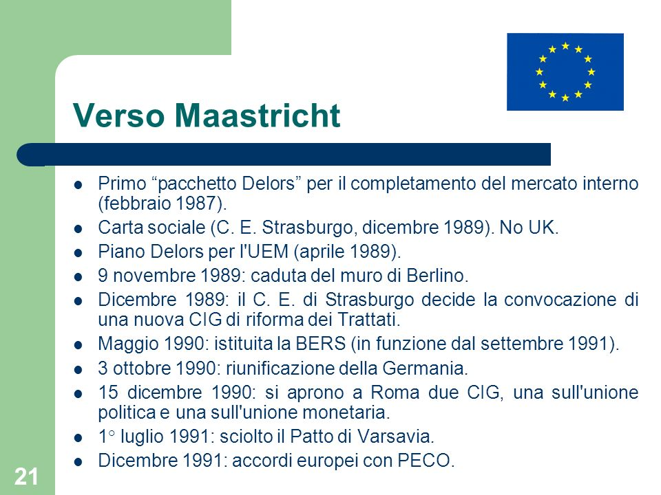 Verso Maastricht Primo pacchetto Delors per il completamento del mercato interno (febbraio 1987).
