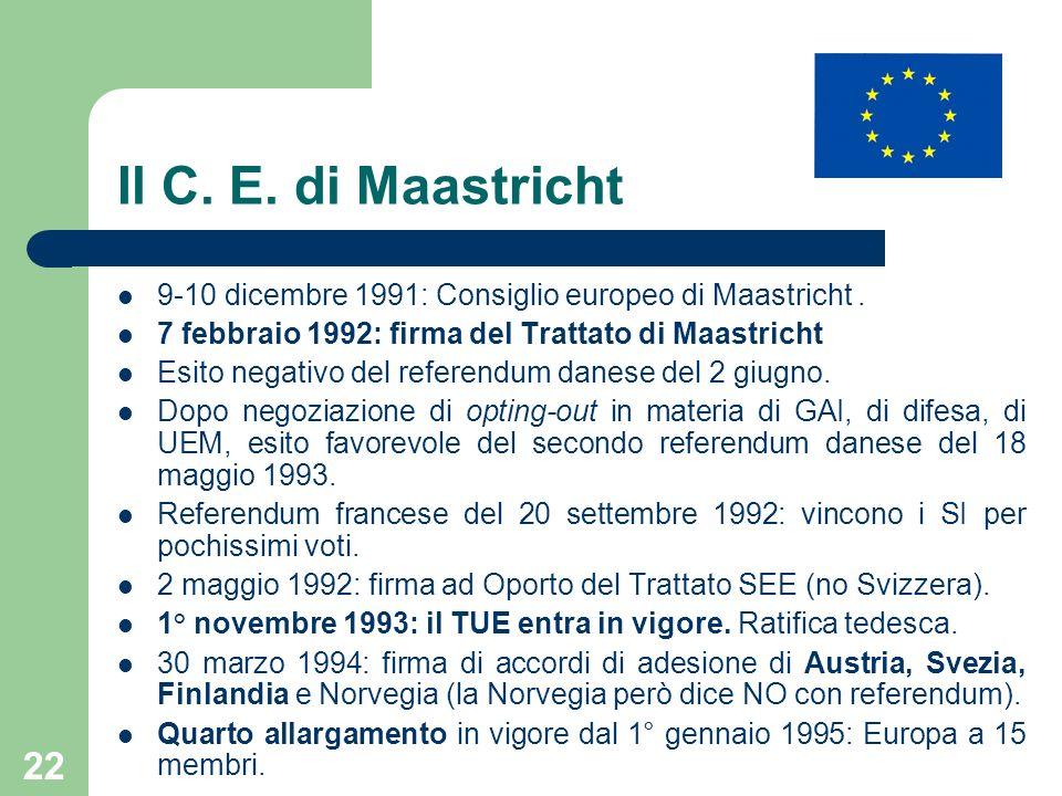 Il C. E. di Maastricht 9-10 dicembre 1991: Consiglio europeo di Maastricht . 7 febbraio 1992: firma del Trattato di Maastricht.