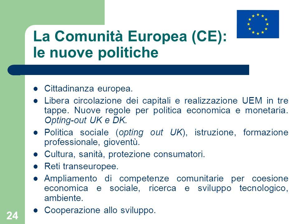 La Comunità Europea (CE): le nuove politiche
