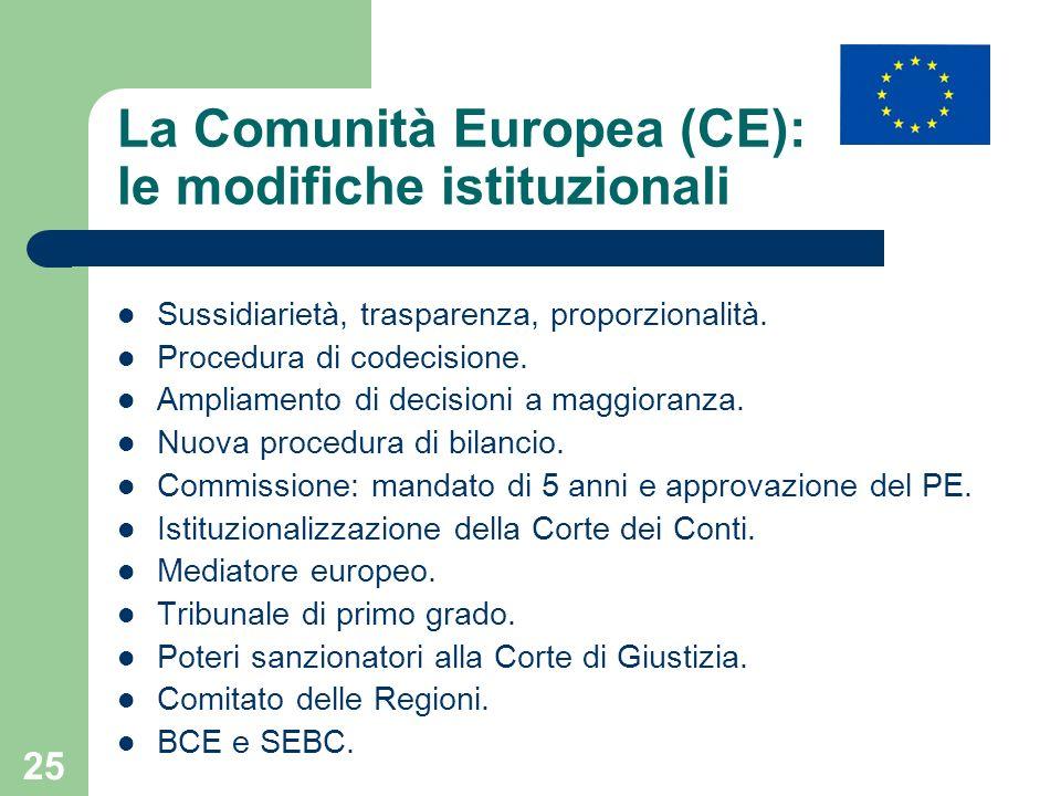 La Comunità Europea (CE): le modifiche istituzionali