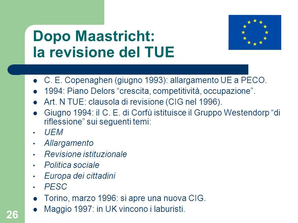 Dopo Maastricht: la revisione del TUE
