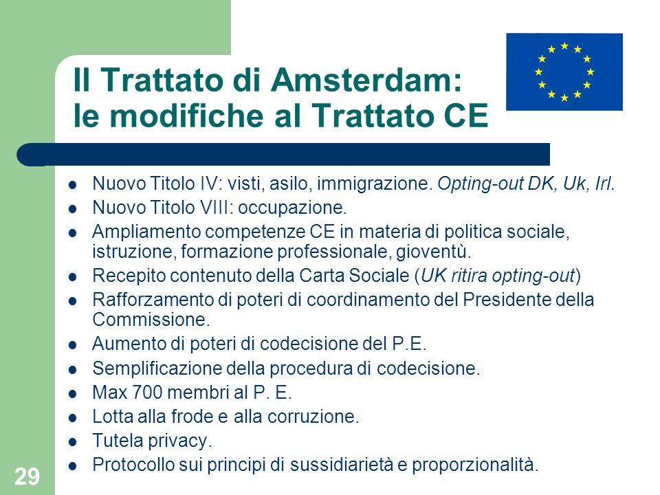 Il Trattato di Amsterdam: le modifiche al Trattato CE