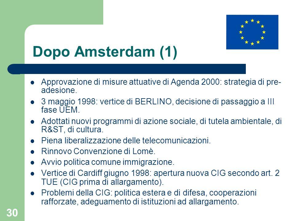 Dopo Amsterdam (1) Approvazione di misure attuative di Agenda 2000: strategia di pre-adesione.