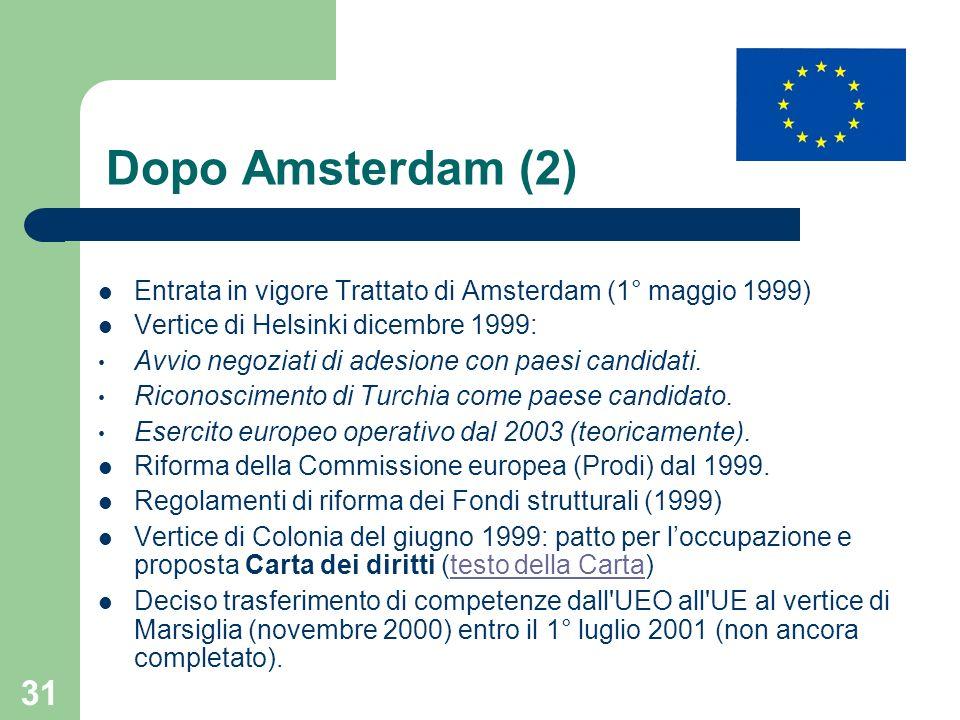 Dopo Amsterdam (2) Entrata in vigore Trattato di Amsterdam (1° maggio 1999) Vertice di Helsinki dicembre 1999: