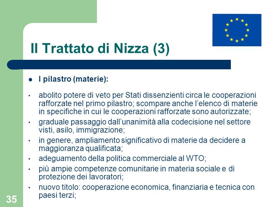 Il Trattato di Nizza (3) I pilastro (materie):
