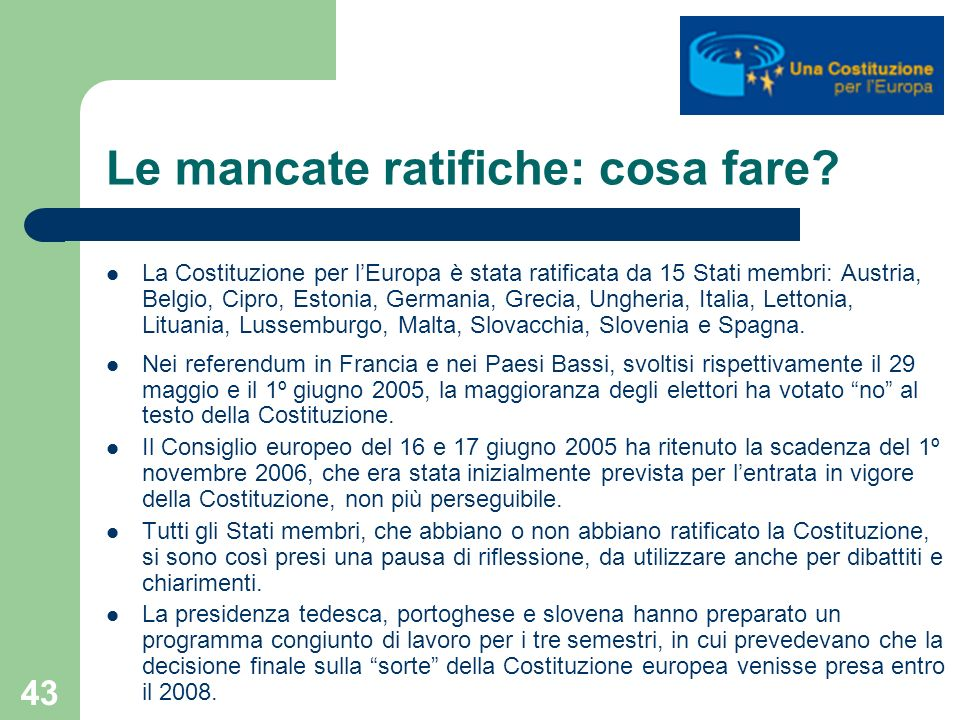 Le mancate ratifiche: cosa fare