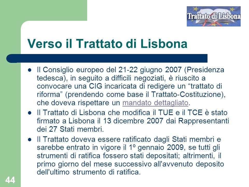 Verso il Trattato di Lisbona