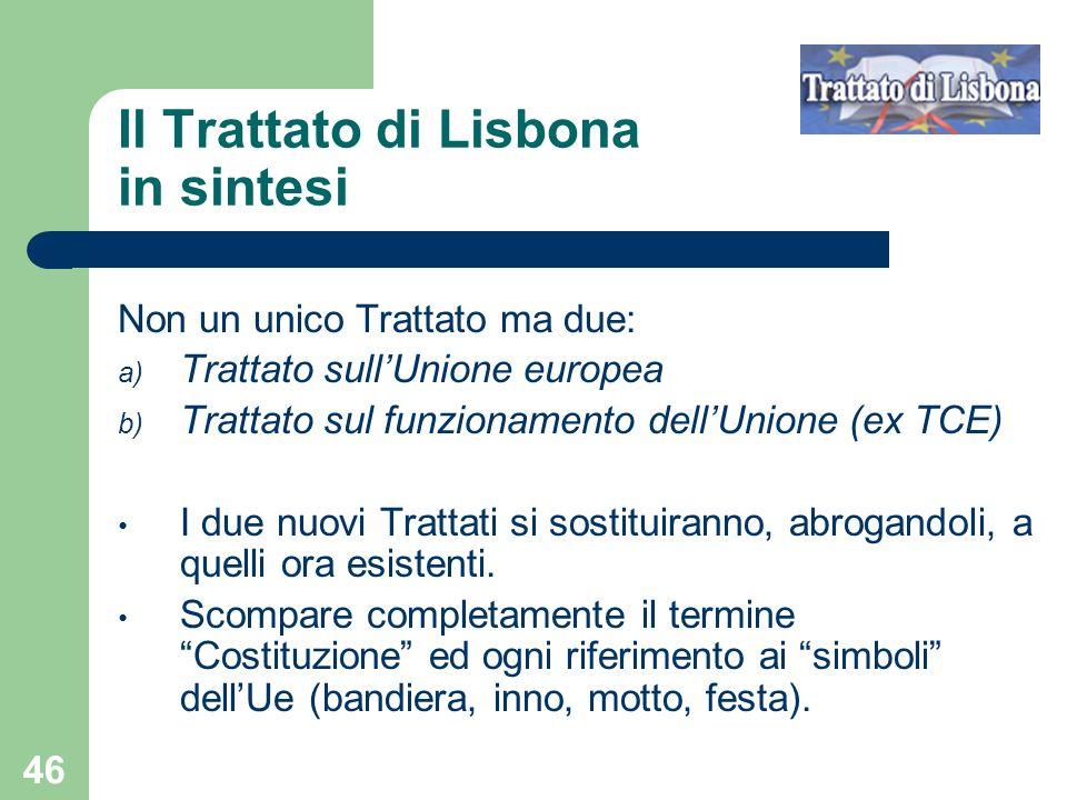 Il Trattato di Lisbona in sintesi