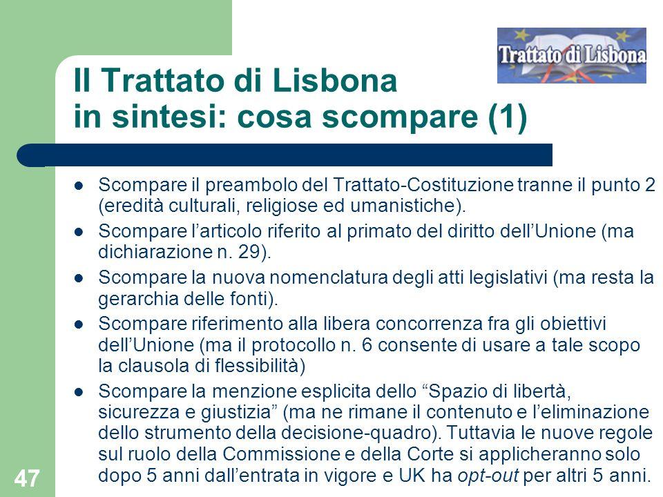 Il Trattato di Lisbona in sintesi: cosa scompare (1)