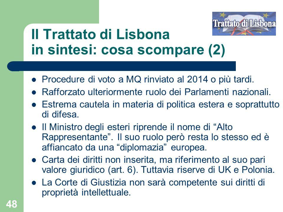 Il Trattato di Lisbona in sintesi: cosa scompare (2)