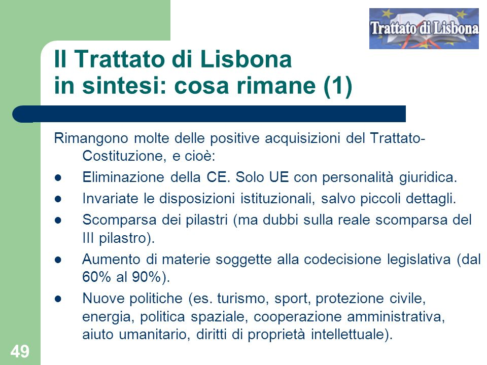 Il Trattato di Lisbona in sintesi: cosa rimane (1)