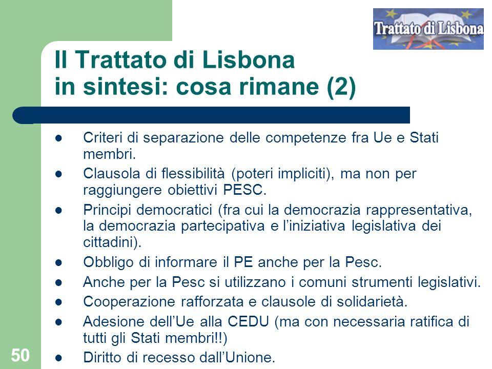 Il Trattato di Lisbona in sintesi: cosa rimane (2)
