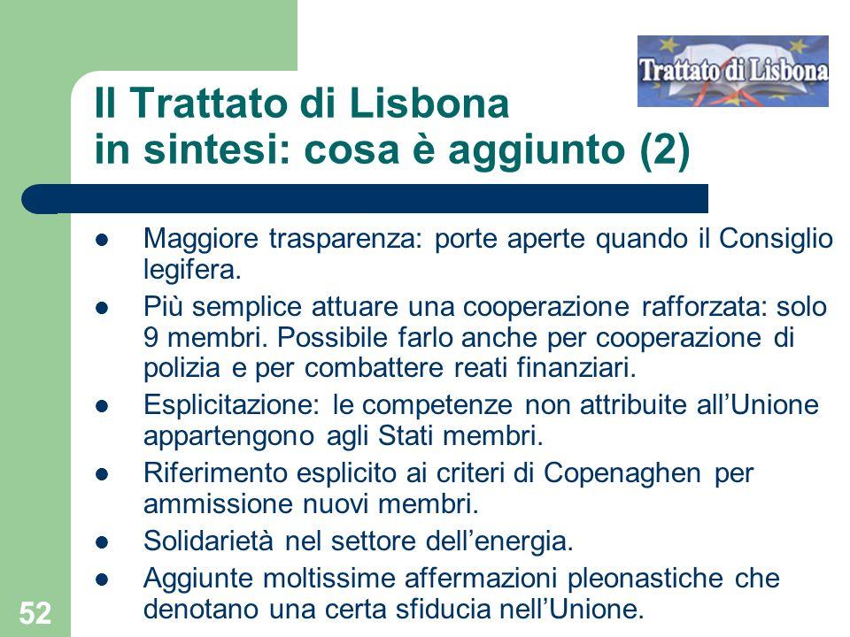 Il Trattato di Lisbona in sintesi: cosa è aggiunto (2)