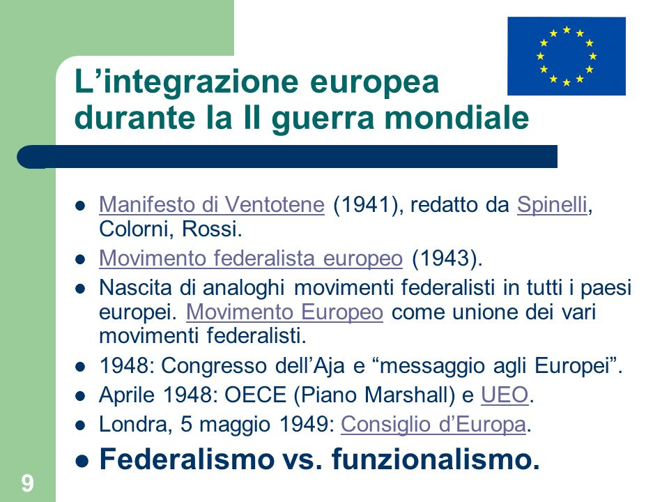 L'integrazione europea durante la II guerra mondiale