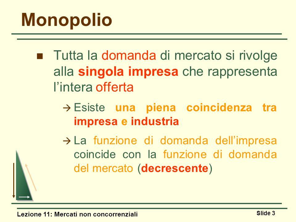 Monopolio Tutta la domanda di mercato si rivolge alla singola impresa che rappresenta l'intera offerta.