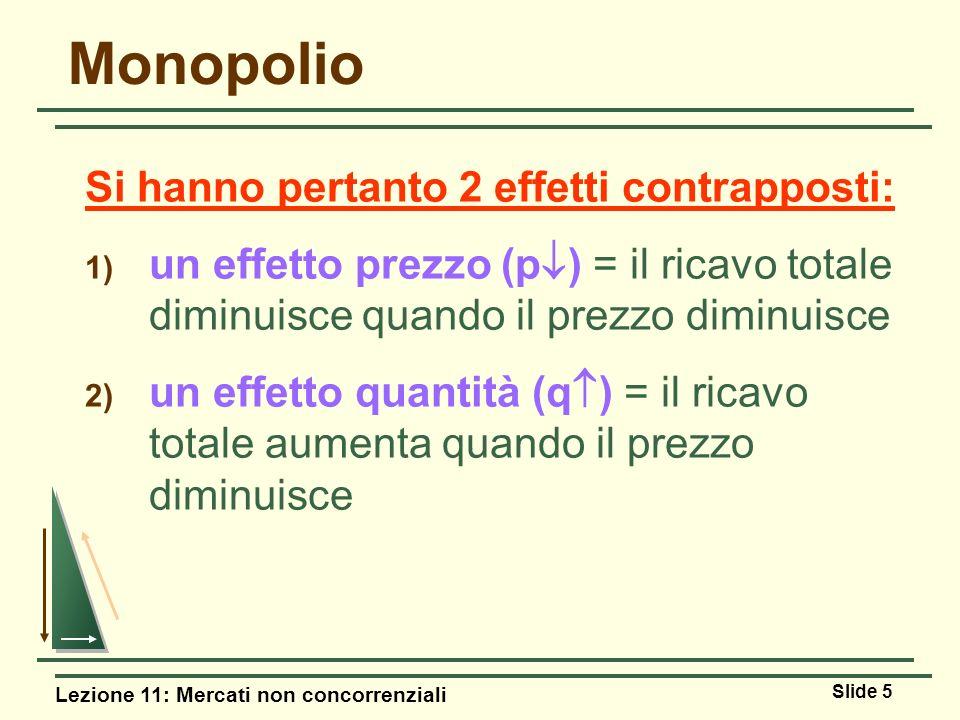 Monopolio Si hanno pertanto 2 effetti contrapposti: