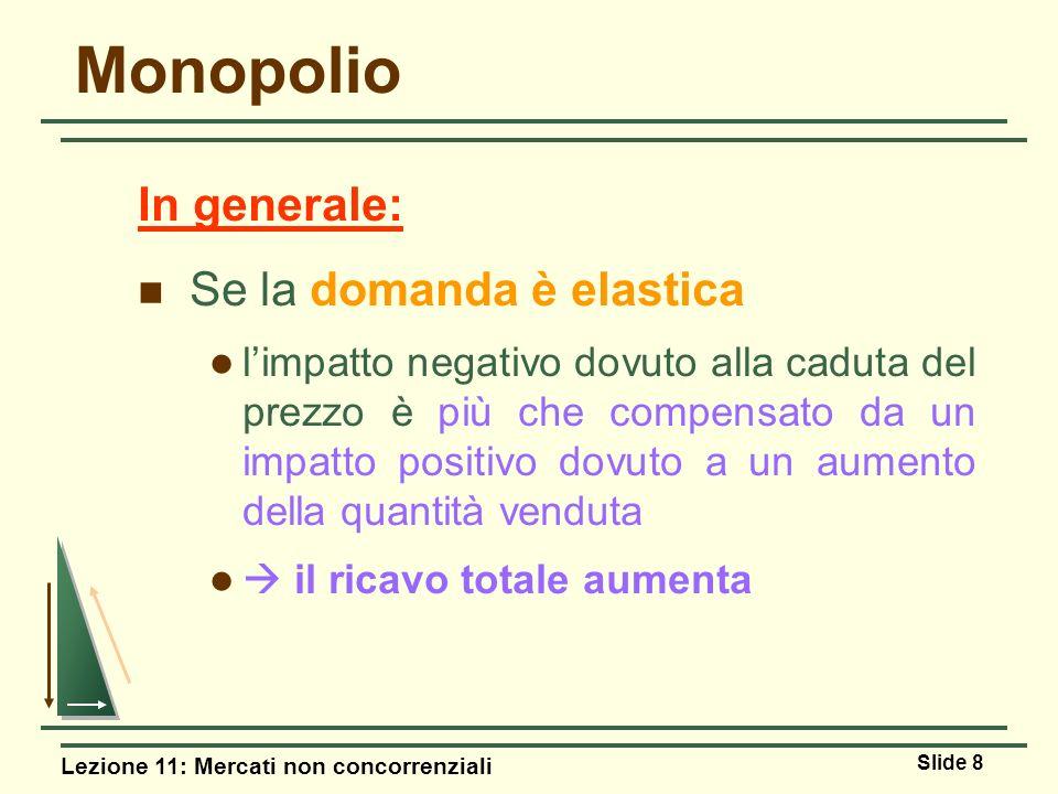 Monopolio In generale: Se la domanda è elastica