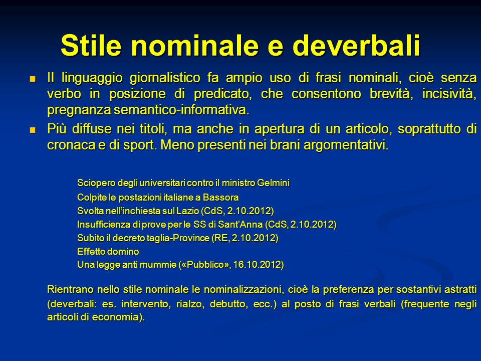Stile nominale e deverbali