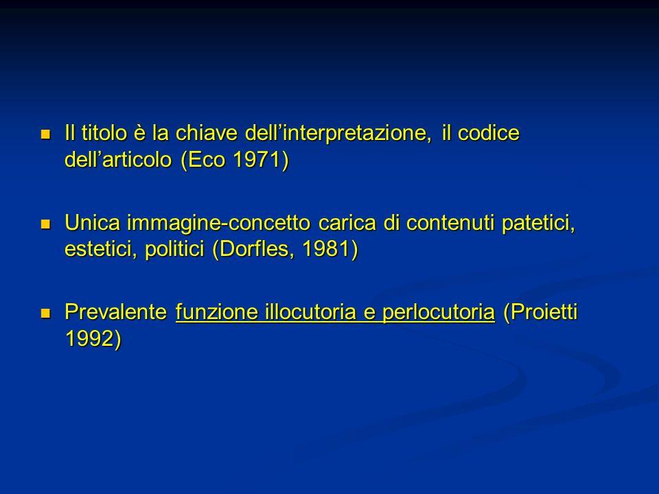Il titolo è la chiave dell'interpretazione, il codice dell'articolo (Eco 1971)