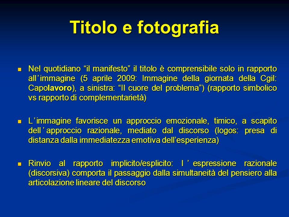 Titolo e fotografia