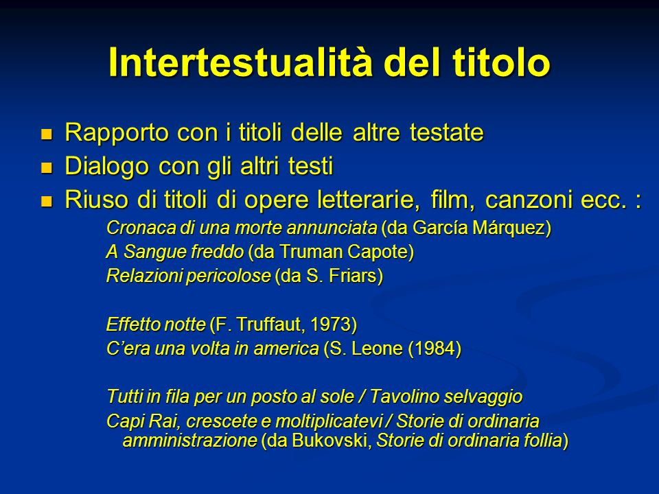 Intertestualità del titolo