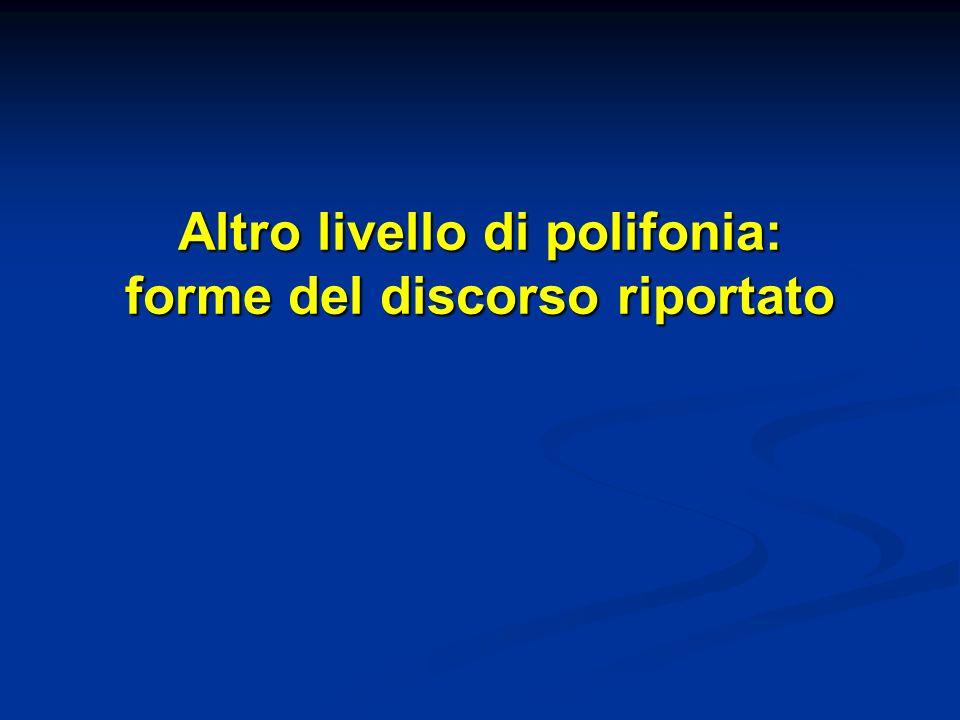 Altro livello di polifonia: forme del discorso riportato