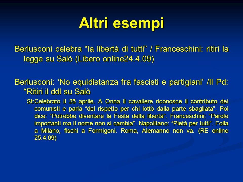 Altri esempi Berlusconi celebra la libertà di tutti / Franceschini: ritiri la legge su Salò (Libero online24.4.09)