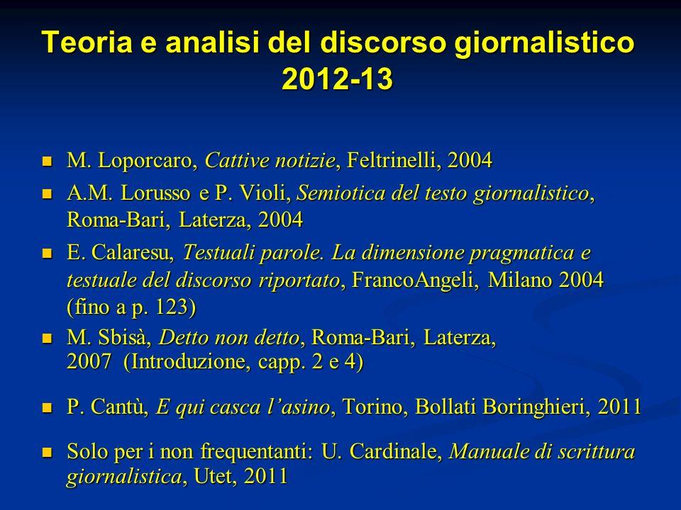 Teoria e analisi del discorso giornalistico 2012-13