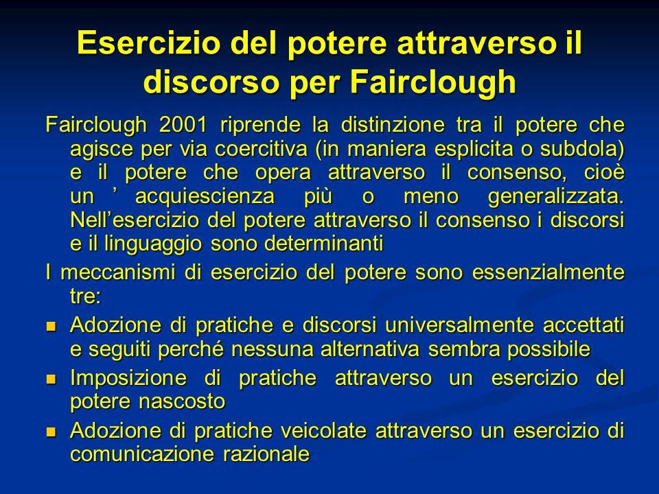 Esercizio del potere attraverso il discorso per Fairclough